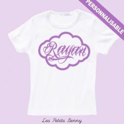 T-shirt enfant personnalisé avec caligraphie violet