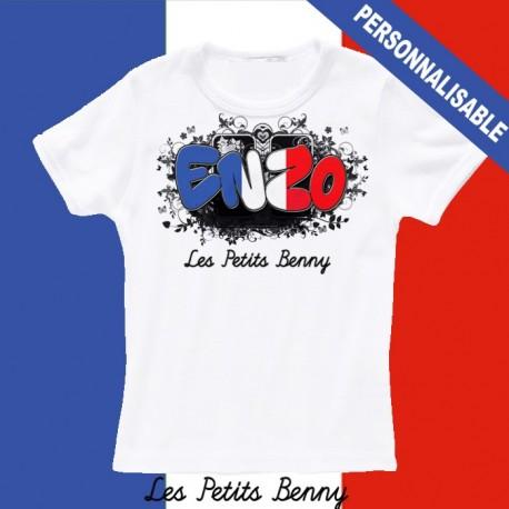 T shirt France personnalisable pour enfant avec prénom
