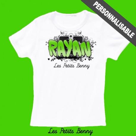 T-shirt enfant personnalisé avec graffiti vert