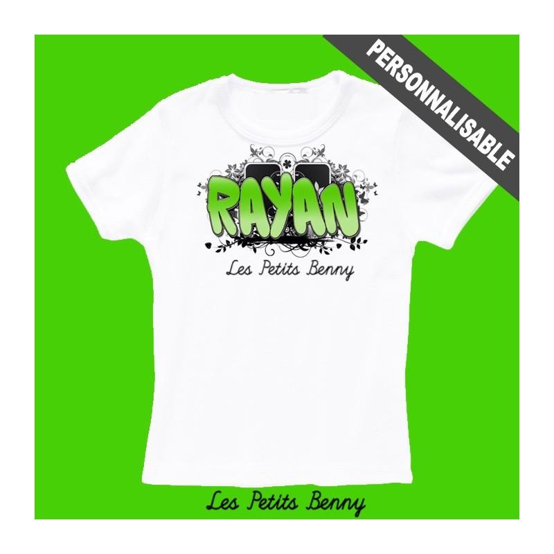 T shirt enfant personnalis avec pr nom avec graffiti en vert - Tee shirt avec photo personnalise ...