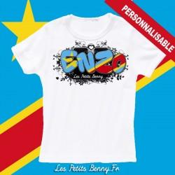33480d6a7e539 T shirt Congo Kinshasa personnalisable pour enfant avec prénom