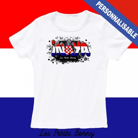 T shirt croatie personnalisable pour enfant avec prénom