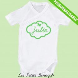 Body personnalisé avec prénom nuage en vert