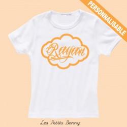 T-shirt enfant personnalisé avec calligraphie orange
