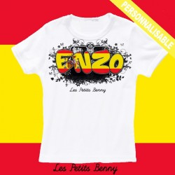 T shirt espagne personnalisable pour enfant avec prénom