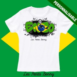 T shirt brésil personnalisable pour enfant avec prénom