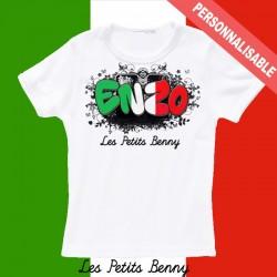 T shirt italie personnalisable pour enfant avec prénom
