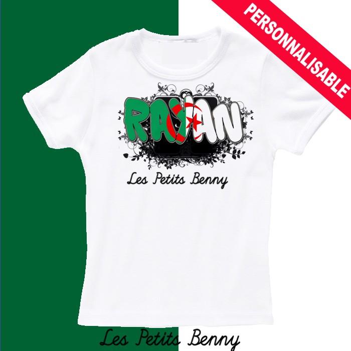 pas mal 544e1 fb7c9 T shirt Algerie personnalisable pour enfant avec prénom - Les Petits Benny