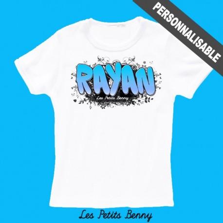 T-shirt enfant personnalisé avec graffiti bleu