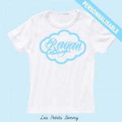 T-shirt enfant personnalisé avec calligraphie bleu