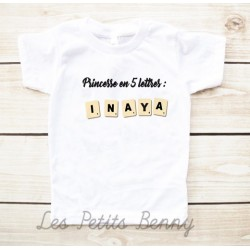 T-shirt enfant princesse et prénom version scrabble