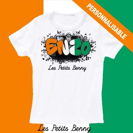 100% authentique c37b9 77cb4 T shirt cote d'ivoire personnalisable pour enfant avec prénom - Les Petits  Benny