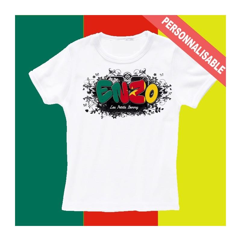 meilleure sélection 24b35 5a1de T shirt Cameroun personnalisable pour enfant avec prénom - Les Petits Benny