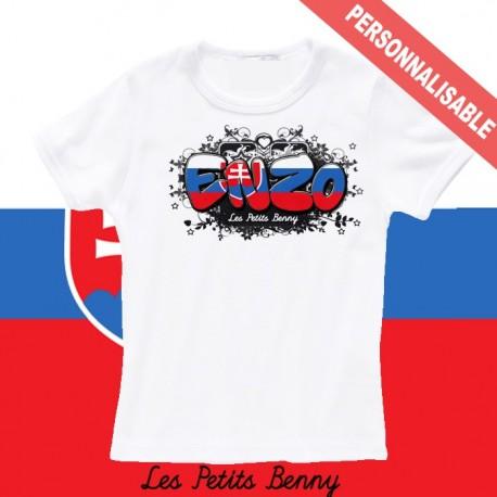 T shirt Slovaquie personnalisable pour enfant avec prénom