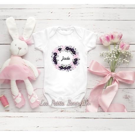 Body bébé fille personnalisé avec fleur et prénom